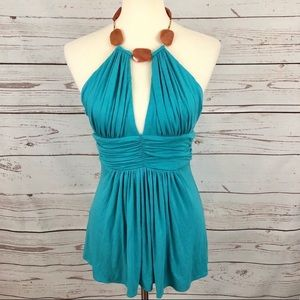 Sky Brand Turquoise Statement Necklace Tunic Top